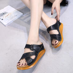 Women's Leatherette Wedge Heel Sandals Platform Peep Toe Slippers With Buckle shoes