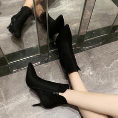 Kvinner Stoff Stiletto Hæl Ankelstøvler med Delt Bindeled sko
