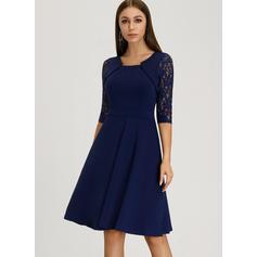 Solid 3/4 Sleeves A-line Knee Length Vintage/Party/Elegant Dresses