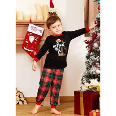 Letter Print Familie Matchende Jul Pyjamas