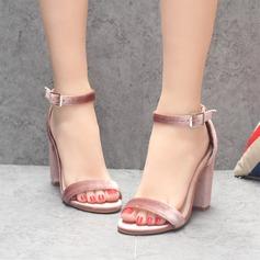 Women's Velvet Chunky Heel Sandals Peep Toe With Buckle shoes