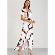 Print Short Sleeves Shift Casual/Boho/Vacation Maxi Dresses