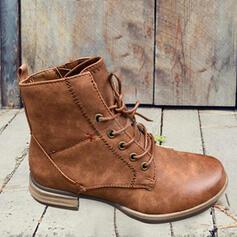 Dla kobiet PU Obcas Slupek Kozaki Martin Buty Z Sznurowanie Jednolity kolor obuwie