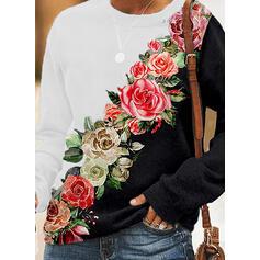 Tisk Bloc de culori Květinový Kulatý Výstřih Dlouhé rukávy Hanorac