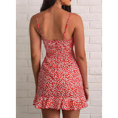 Print/Floral Sleeveless Sheath Above Knee Sexy/Vacation Slip Dresses