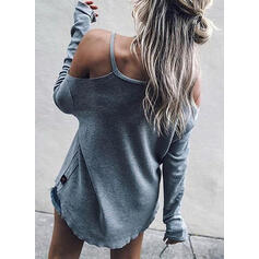 Print Figure Cold Shoulder Long Sleeves Casual Blouses