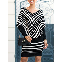 Striped Long Sleeves/Batwing Sleeves Bodycon Above Knee Casual Dresses