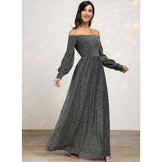 Solid Long Sleeves A-line Party/Elegant Maxi Dresses