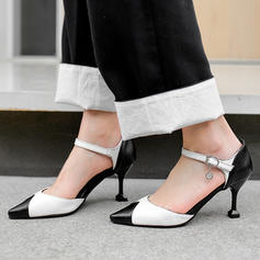 Women's Leatherette Spool Heel Pumps Closed Toe Mary Jane With Buckle shoes