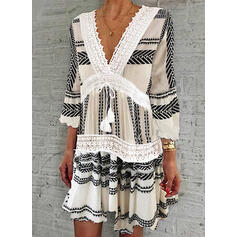 Lace/Print 3/4 Sleeves/Flare Sleeves Shift Knee Length Casual Tunic Dresses