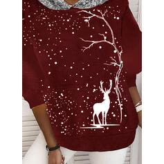 Рисунок животного блестки Длинные рукова Рождественская толстовка