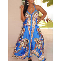 Print Sleeveless Shift Casual/Vacation/Plus Size Maxi Dresses