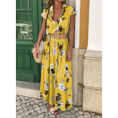 Nadrukowana/Kwiatowy Krótkie rękawy W kształcie litery A Casual/Wakacyjna Maxi Sukienki