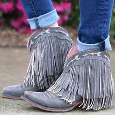 Női PU Alacsony sarok Csizma -Val Hálós ruha cipő