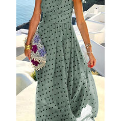 PolkaDot Sleeveless A-line Skater Casual/Vacation Maxi Dresses