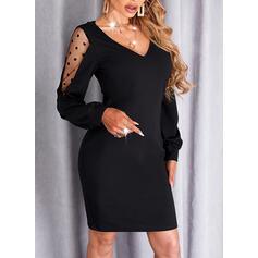 Sólido Encaje Manga Larga Cubierta Sobre la Rodilla Pequeños Negros/Elegante Vestidos