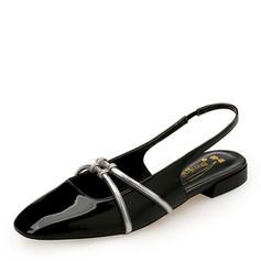 Frauen Lackleder Flascher Absatz Flache Schuhe Geschlossene Zehe Slingpumps Mary Jane mit Gummiband Schuhe
