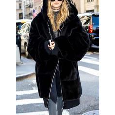 Lange Ärmel Einfarbig Mantel aus Gewebemischung Mäntel