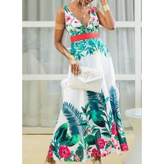 Nadrukowana/Kwiatowy Bez rękawów W kształcie litery A Łyżwiaż Przyjęcie/Wakacyjna Maxi Sukienki