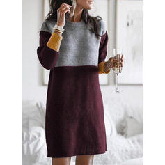 Color Block Cable-knit Round Neck Sweater Dress