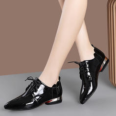 Women's Patent Leather Low Heel Flats With Lace-up shoes