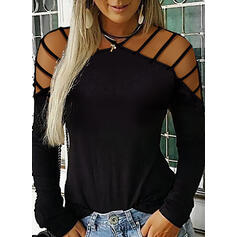Solid Cold Shoulder Long Sleeves Casual Sexy T-shirts