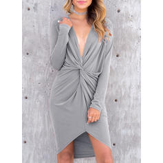 Solid Long Sleeves Sheath Asymmetrical Sexy/Party/Vacation Dresses