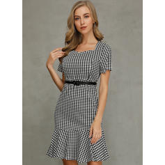Print Short Sleeves Sheath Knee Length Casual/Elegant Dresses