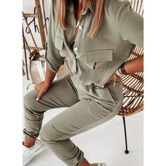 Solid Shirt collar 3/4 Sleeves Casual Elegant Jumpsuit