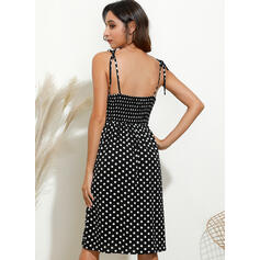 PolkaDot Sleeveless Sheath Knee Length Sexy/Casual/Vacation Slip Dresses
