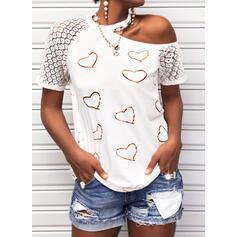 Potisk Krajka Inima Jedno rameno Krátké rukávy Neformální Bluze