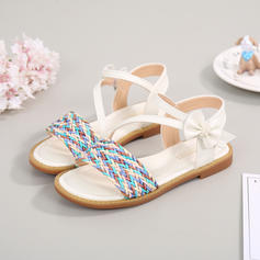 Girl's Microfiber Leather Flat Heel Peep Toe Sandals With Bowknot Velcro