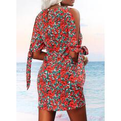 Nadruk/Kwiatowy Rękawy 1/2 Slit Sleeves Suknie shift Nad kolana Nieformalny Tunika Sukienki