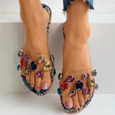 Dla kobiet PVC Płaski Obcas Plaskie Z Stras/ Krysztal Górski obuwie