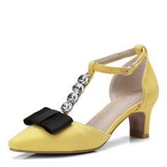 Women's Suede Chunky Heel Sandals Pumps With Rhinestone Bowknot shoes
