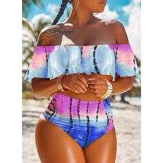 Print Gradient Strapless Off the Shoulder Bohemian Plus Size Bikinis Swimsuits