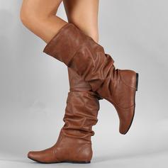 Naisten Keinonahasta Matalakorkoiset Heel Kengät Knee saappaat jossa Muut kengät