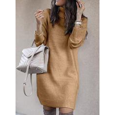Solid/Chunky knit/Cable-knit Long Sleeves Shift Above Knee Casual/Long Dresses