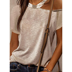 Solid One Shoulder Short Sleeves Casual Blouses