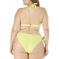 Effen kleur Lage Taille Halter Grote maat Bikini's Badpakken