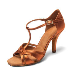 Women's Satin Heels Latin With T-Strap Dance Shoes