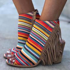 Femmes Suède Talon bottier Bottines avec Zip Tassel chaussures