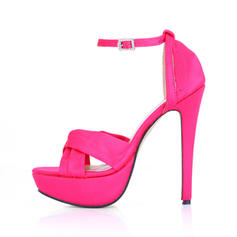 Women's Silk Like Satin Stiletto Heel Platform Sandals With Buckle Rhinestone