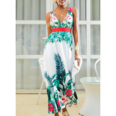 Print/Floral Sleeveless A-line Skater Party/Vacation Maxi Dresses