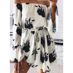 Print Long Sleeves/Flare Sleeves A-line Above Knee Casual Skater Dresses