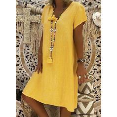 Short Sleeves Shift Knee Length Casual/Vacation Dresses