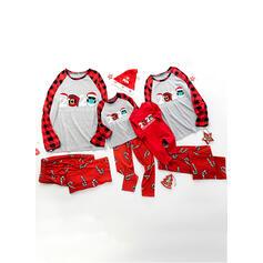 Plaid Mektup Baskı Aile Eşleşen Noel Pijamaları