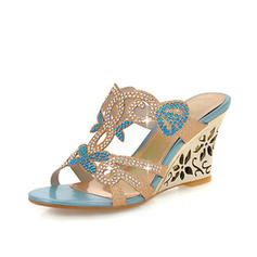 Women's Leatherette Wedge Heel Sandals With Sparkling Glitter Hollow-out shoes