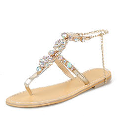 Women's Leatherette Flat Heel Sandals Flats Peep Toe Slingbacks With Rhinestone Chain shoes