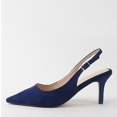 婦人向け スエード チャンクヒール サンダル ポンプ クローズトゥー スリングバック 靴